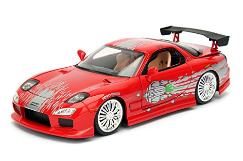 NEW 1:24 JADA TOYS DISPLAY FAST & FURIOUS (2017) - RED DOM'S MAZDA RX-7 Diecast Model Car By Jada Toys (Without Retail Box)