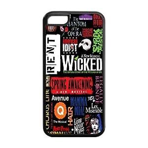 Generic Custom TPU Phone Case for iPhone 5C Broadway Collage Pattern