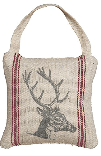 Primitives by Kathy Vintage Flour Sack Style Mini Holiday Deer Head Pillow with Gift Card Holder, 5-Inch Square