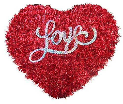 Valentine's Day Red Tinsel Heart Love Hanging Party Decoration, 13 1/2 Inch