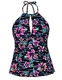 Mycoco Women's Tankini Swimsuits Halter Swim Tops Bathing Suits Keyhole Swimwear Orange&Red Floral S