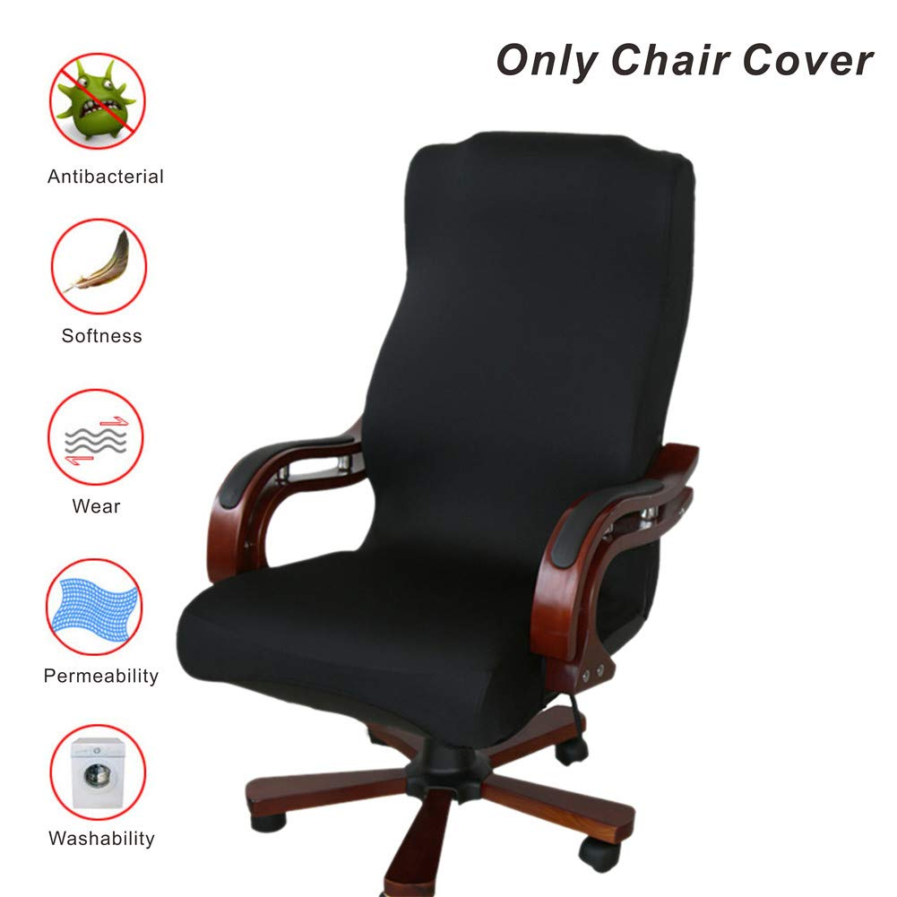 Office Chair Covers, My Decor Removable Cover Stretch Cushion Resilient Fabric Computer Chair /Desk Chair/Boss Chair /Rotating Chair / Executive Chair Cover, Large Size, Black