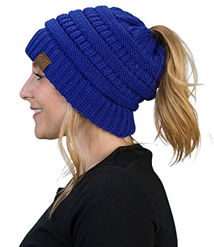 (Funky Junque BT-6020a-57 Solid Ribbed BeanieTail - Royal Blue)