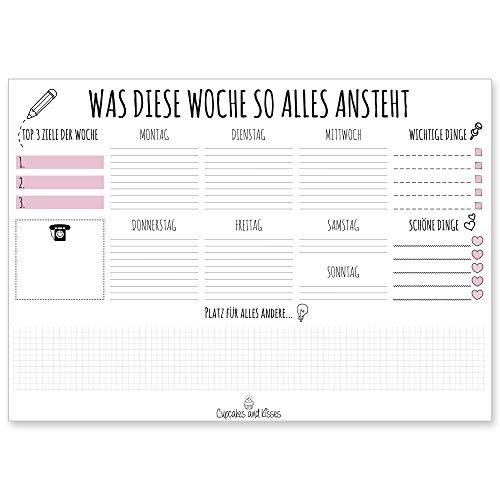 CUPCAKES & KISSES Schreibtischunterlage zum abreißen / DIN A3 groß / Papier: weiß / 25 Seiten / für Notizen / Wochenplaner / Organizer / für Jugendliche