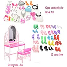 Buytra 40 Pieces Jewelry Necklace Earring Shoes Crown Accessories 1 Set Dressing Table Chair 20 Pairs Shoes for...