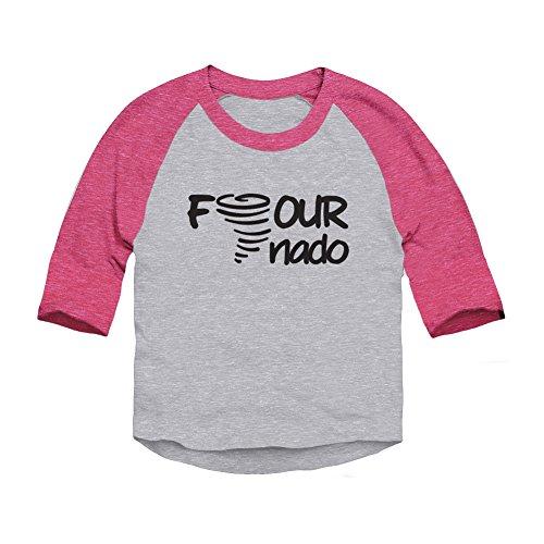Trunk Candy Four-Nado Fourth Birthday Toddler 3/4 Sleeve Raglan Baseball T-Shirt (Heather/Pink, 5/6T)