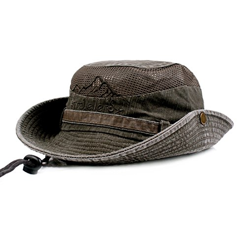 KeepSa Sun Hat for Men, Cotton Embroidery Summer Outdoor Sun Protection Wide Brim Bucket Hat Foldable Safari Boonie Hat Army Green