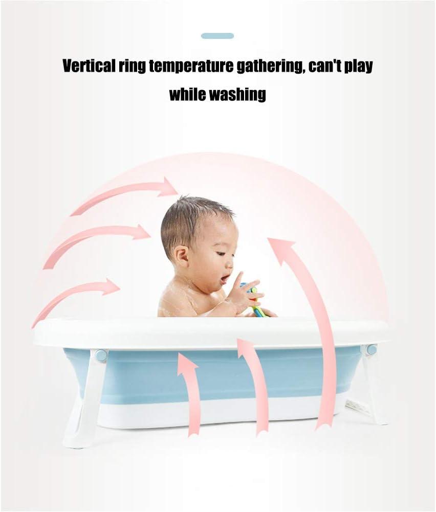HBIAO Transat de Bain pour Bebe Portable B/éb/é Baignoire Pliage Bassin en Silicone Lavabo Pliable Tourisme Enfants Laver Infant Douche B/éb/é Soins Bande Dessin/ée Ours,Blue,S