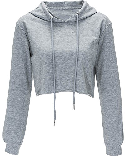 Moxeay Hoodie Sport Crop Top Sweatshirt Jumper Pullover Tops(M, Grey)