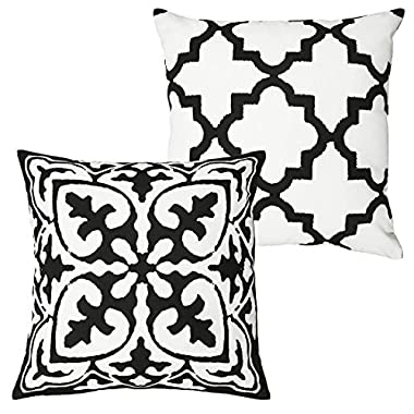 DOZZZ Set of 2 Black and White - Vintage Style Cotton Linen Square Throw Pillow Case Decorative Cushion Cover Pillowcase Cushion Case for Sofa,Bed,Chair (Black and White 2 Pcs, WITHOUT PILLOW INSERT )