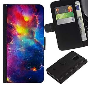 WINCASE (No Para S5) Cuadro Funda Voltear Cuero Ranura Tarjetas TPU Carcasas Protectora Cover Case Para Samsung Galaxy S5 Mini, SM-G800 - cielo espacio vibrante cosmos universo nebulosas