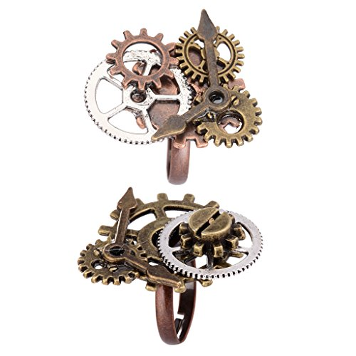 Baoblaze 2pcs Men Women Handmade Vintage Steampunk Watch Pointer Gear Ring Band Adjustable