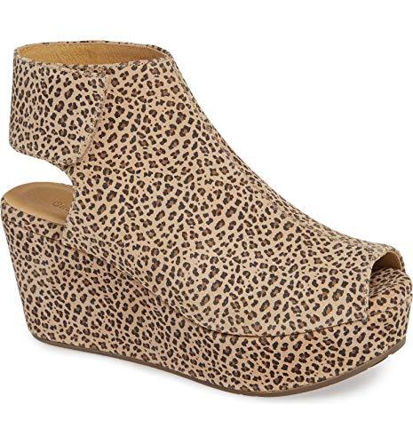 Chocolat Blu White Wedge - Platform Sandal - Women's Suede/Leather Shoes Cheetah Suede 7.5 (High Heel Sandals Blu)