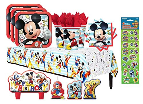 Disney Mickey Mouse On The Go Birthday Party Supply Bundle for 16 with Plates, Napkins, Cups, Tablecover, Candles, and Stickers ()