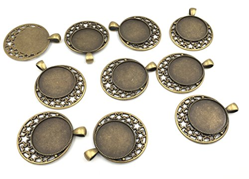 (Pack of 10 Round Picture Frame Charm Pendants Trays 25mm with Moon and Stars Design DIY Alloy Photo Making (Trays 10pcs Bronze))