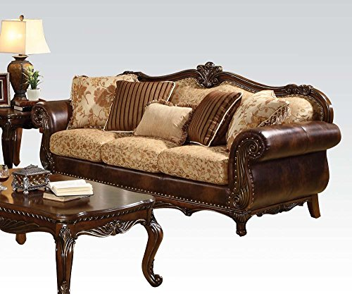 ACME 50155 Remington Bonded Leather and Fabric Sofa, Brown Cherry Finish (Cherry Sofa Leather)