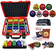 casinoite High Rollers Poker Chips Set 300/500 Pcs   10 Plaques Rodeo Cowboy 45mm Casino Style Chip   Red Hard