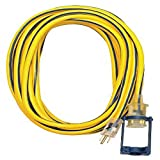 Voltec 05-00105 12/3 SJTW Outdoor Extension Cord with E-Zee Lock and Lighted End, 25-Foot, Yellow with Blue Stripe