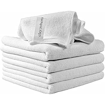 Microfiber Cleaning Cloths, 5 Pack, White, Soft Microfiber Dusters, Machine Washable, Lint-Free