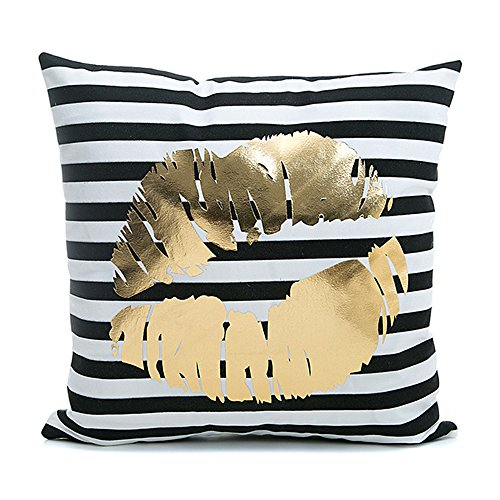 Kingla Home Black Stripes Golden Lip Pillow Covers Flannel D