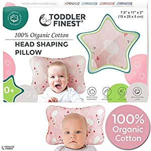Newborn Baby Head Shaping Pillow   100% Organic Cotton Cushion for Flat Head Syndrome Prevention   Prevent Plagiocephaly   Best Perfect for Baby Boy & Girl   Baby Shower Gift (B)