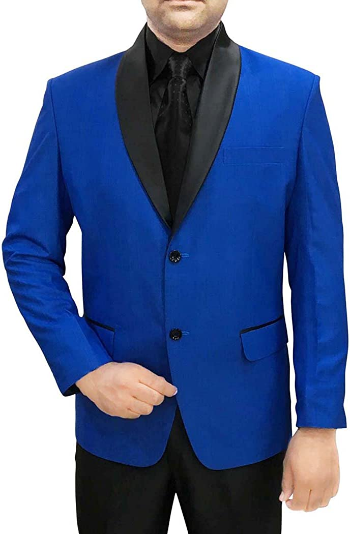 INMONARCH Hombres 4 Pc Smoking Traje Azul Mantón de Solapa Negra ...