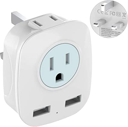 Iraq Hong Kong 2 Pack Grounded Universal Travel Plug Adapter Type G for UK