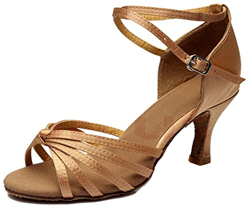 Minetom Women's Ankle Strap Buckle Patent Low Heel Peep-toe Satin Pumps Standard Ballroom Latin Tango Dance Shoes Light Brown T8cS2dWLt