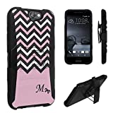 HTC One A9 Case, DuroCase Hybrid Dual Layer Combat Armor Style Kickstand Case w/ Belt Clip Holster Combo for HTC One A9 (Released in 2015) - (Black Pink White Chevron M)