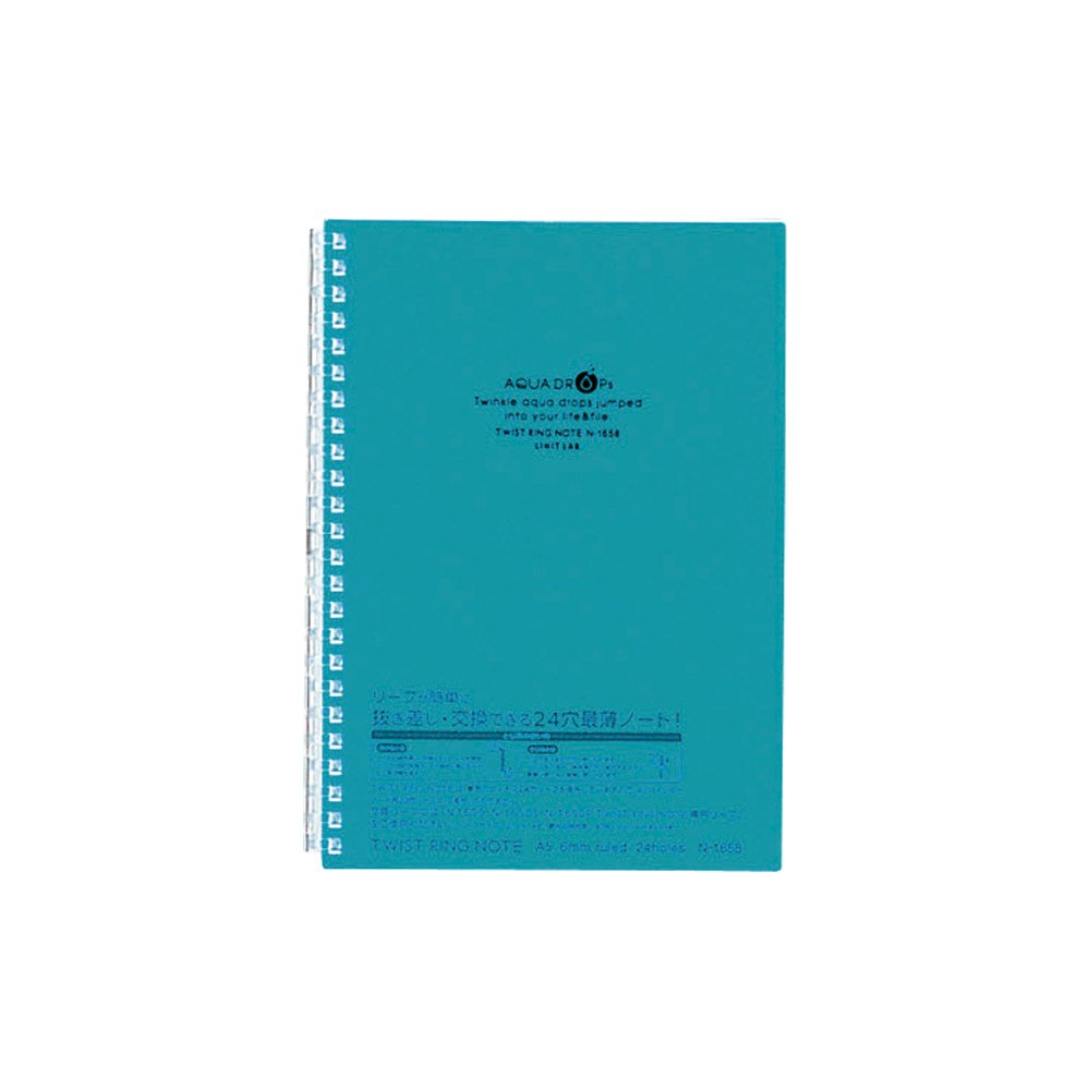 LIHIT LAB Twist Ring Notebook, Graph Paper, Blue Green, 8.3 x 6.1 Inches (N1658-28)