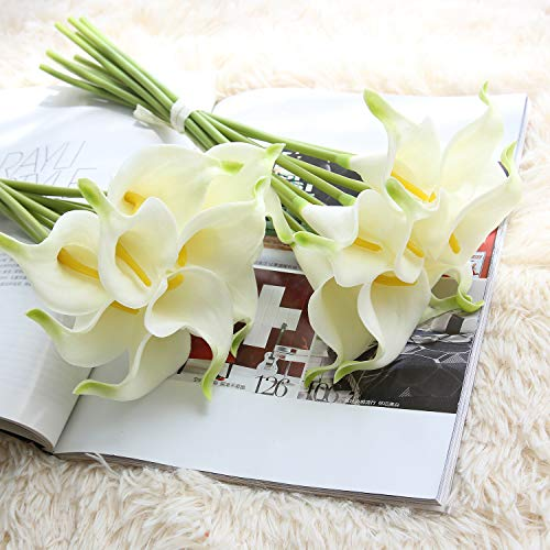 Bouquet Bridal Heart - JOEJISN 20pcs Calla Lily Latex Real Touch Artificial Flower Bridal Wedding Bouquet Home Party Decor (Yellow Heart White Green tip)