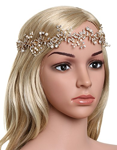 (BABEYOND Crystal Wedding Headpiece Hair Vine Bridal Headband Bridesmaid Hairband Crystal Floral Leaf Forehead Band with Lace Ribbon Gold)