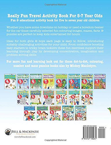 really fun travel activity book for 5 7 year olds fun educational activity book for five to seven year old children mickey macintyre 9781912155231