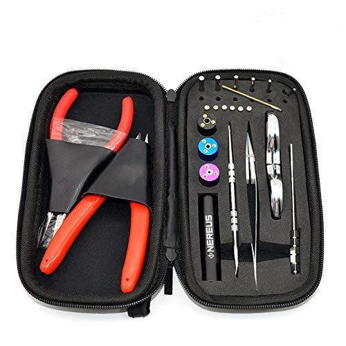DIY Building Tool set - NEREUS Coil Jig Kits - General Household Tool Kits - English Tool manual,DIY Hand tools,Diagonal Pliers, Wire Cutter, Scissors, Screwdriver, Tweezer, Wire Case (9 in 1)
