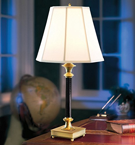 Microsun Library of Congress Table Lamp | Adjustable Light Levels, Eight Times More Light with No Glare (Black Faux Leather, Octagonal Silk Shade, Soft White) - Brass Leather Table