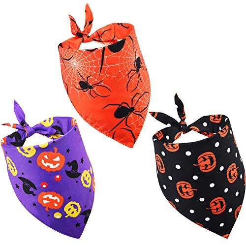 3 Pieces Pet Bandanas Halloween Dog Scarf Triangle Bandana Bibs with Pumpkin Spider Witch Hat Printed for Halloween Pet…