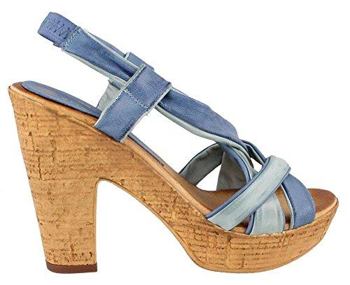 Kvinnor Eric Michaels, Tropiska Hög Klack Plattform Sandal Blå Multi