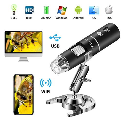 affordable STPCTOU Wireless Digital Microscope 50X-1000X 1080P Handheld Portable Mini WiFi USB Microscope Camera with 8 LED lights for iPhone/iPad/Smartphone/Tablet/PC