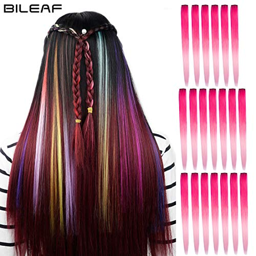 20pcs Colored Party Invisible in Hair Extensions Clip in Synthetic Hair with Multiple Colors(Dark Pink Peach Pink) from Bileaf