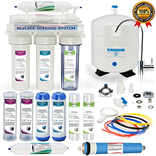 Global Water RO-506 5-Stage Reverse Osmosis System Water Quality Filter- clear housing- 24 HOUR USA Tech Support - Plus Extra Set Of 4 Filters For Free by Global Water
