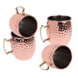 MagiDeal Pack of 4 Copper Cold Beer Drink Mug Bar Home Kitchen Coffee Tea Cup 16 oz