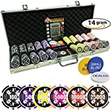 Poker Chip Set 500 | 4 Ace Casino | 14 Gram Super Heavy Chips with Silver Aluminum case High Limit Tournament Set with Free Texas Holdem Calculator
