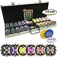 Poker Chip Set 500 | 4 Ace Casino | 14 Gram Super Heavy Chips with Silver Aluminum case High Limit Tournament