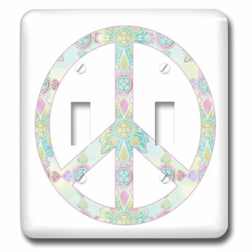 3dRose lsp_212482_2 Boho Peace Symbol - Double Toggle Switch (Symbol Switch)