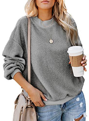 Acelitt Womens Ladies Winter Oversized Cozy Fluffy Fleece Long Sleeve Crewneck Pullover Sweatshirt Top Soft Casual Loose Outwear Coat Gray Large ()