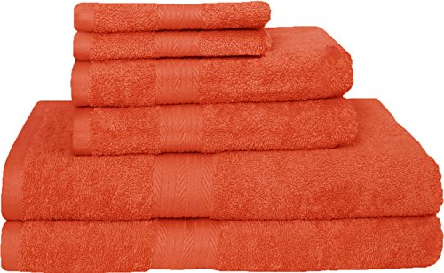 Story@Home Premium Blended Egyptian Cotton 6 Pcs Towel Set - 2 X Bath Towels | 2 X Hand Towels | 2 X Wash Cloths-FIESTA
