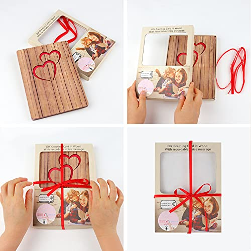 DIY Recordable Music Greeting Cards in Wood Thank You Mothers Day Card 30 Seconds Recording Voice Message for Birthday Anniversary Handmade Wooden Gifts For Wife Husband Unique Gift Box (Pine)