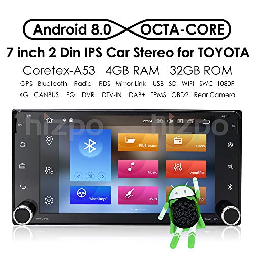 hizpo Android 8.0 Double Din in Dash HD 1024x600 Capacitive Touch Screen Octa Core Car Video Receiver Multi-Media Player GPS Navigation AM FM Radio WiFi for Toyota Camry RAV4 Corolla Hilux Tundra (Toyota Fj Cruiser Navigation)