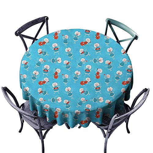 duommhome Angel Restaurant Tablecloth Music Angels Playing Violin Flute Kazoo Saxophone Trumpet Elf Harp Cello Fantasy Easy Care D59 Blue Red White ()