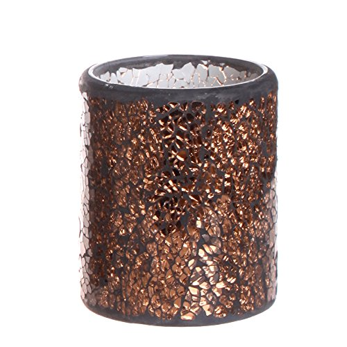 GiveU Glass LED Pillar Flameless Candle Battery Operated with 4&8 Hour Timer for Home Decoration, 3x4 inches, Dark Golden